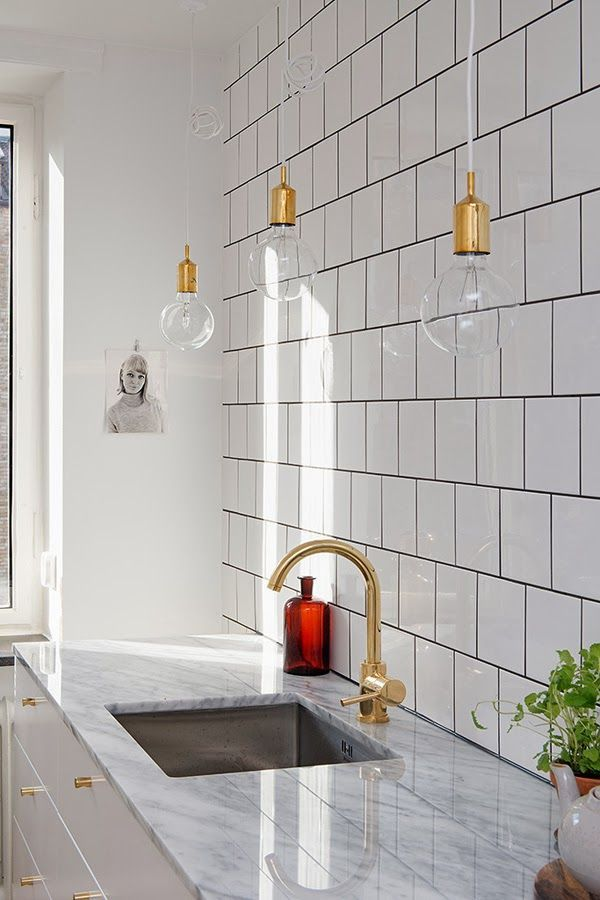 Black Square White Tile with Grout
