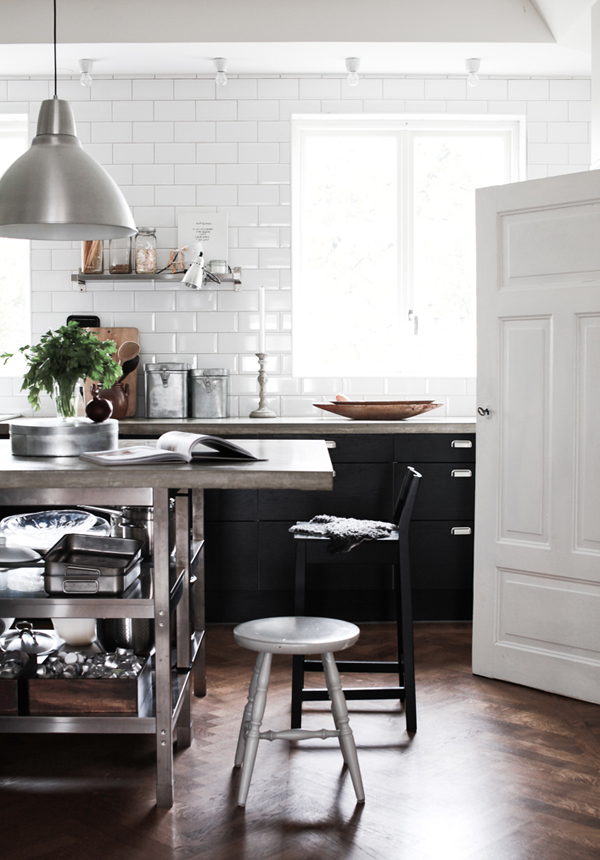Black and White Kitchen Cabinets with Subway Tile