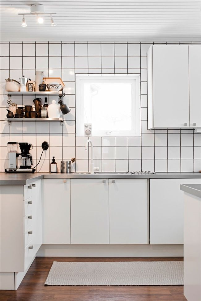Black and White Kitchens with Tile Grout