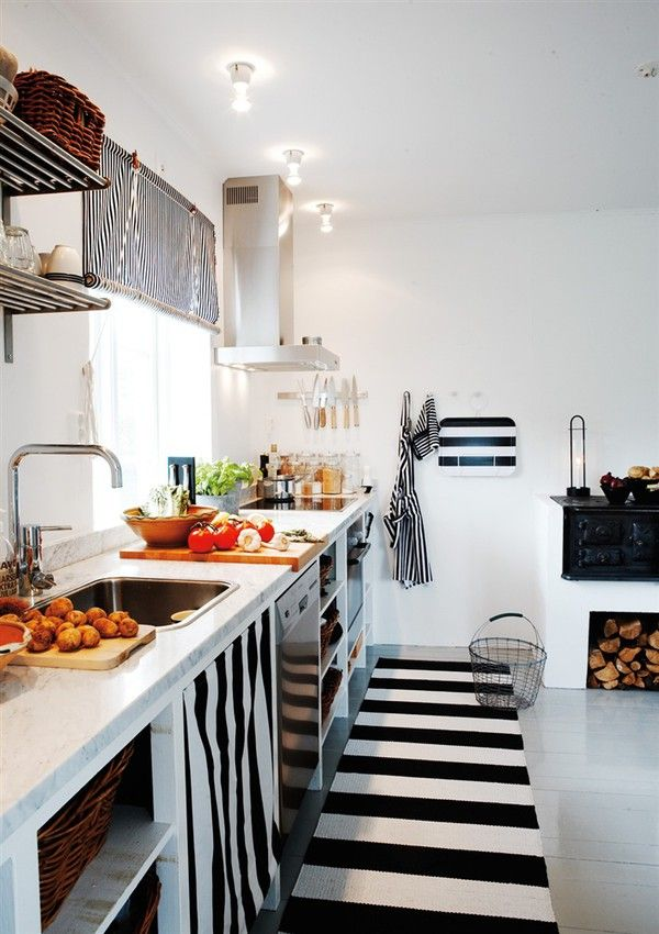 Black and White Striped Kitchen Rug