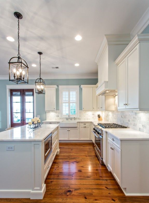 Blue and White Kitchen Cabinets Light Counter Tops