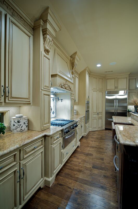 Distressed Antique White Kitchen Cabinets copy