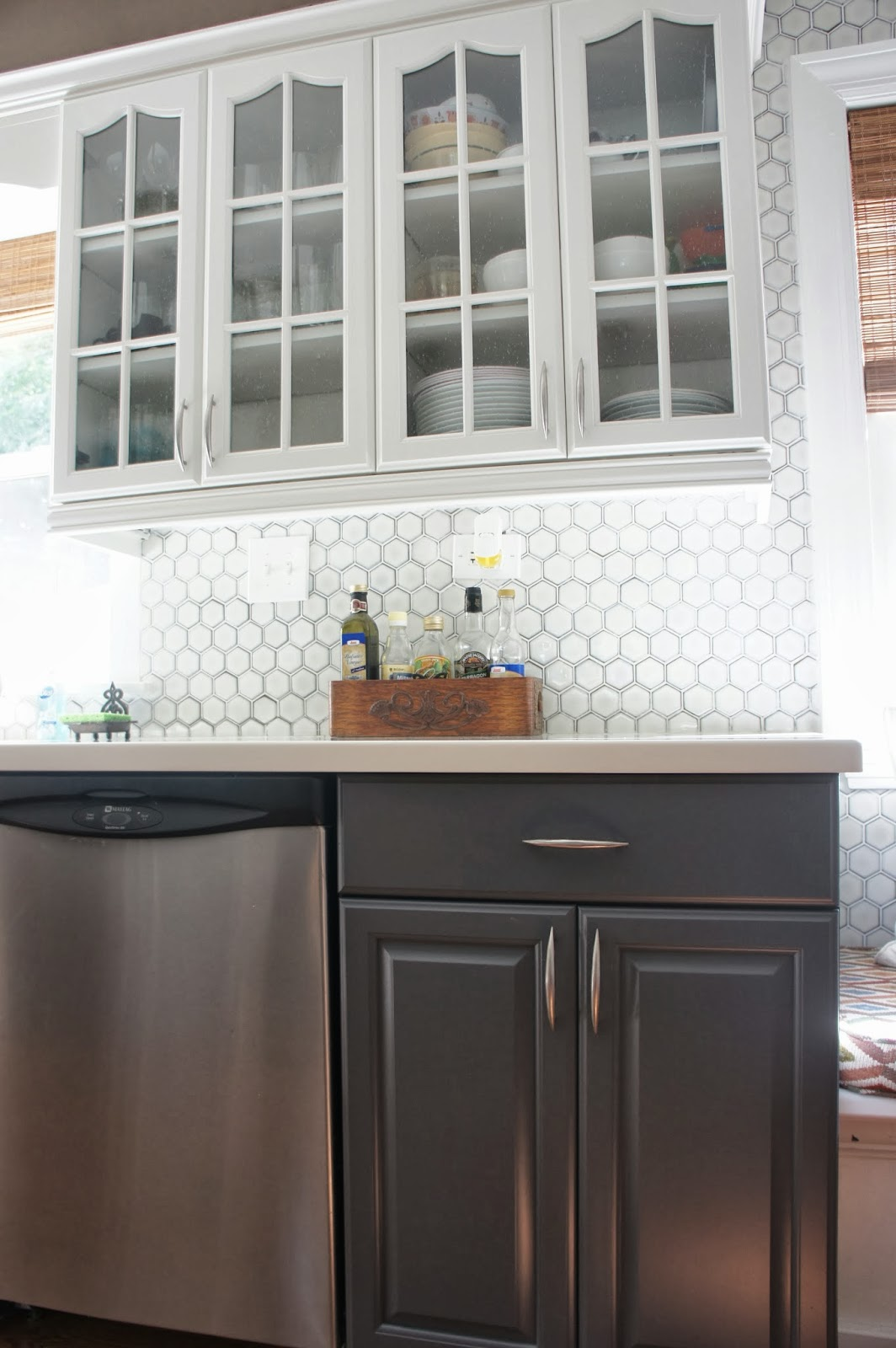 Gray Kitchen White Cabinets with Backsplash