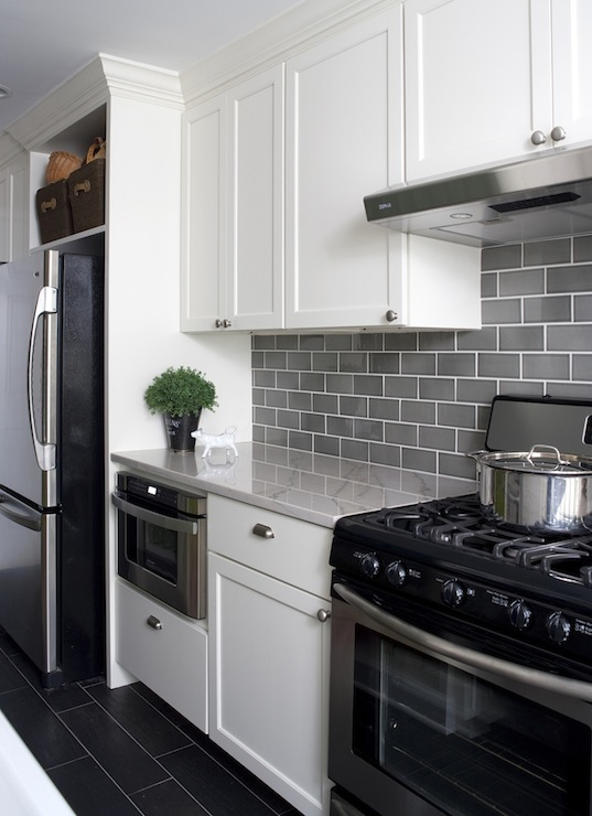 Gray Subway Tiles Kitchen Backsplash White Cabinets