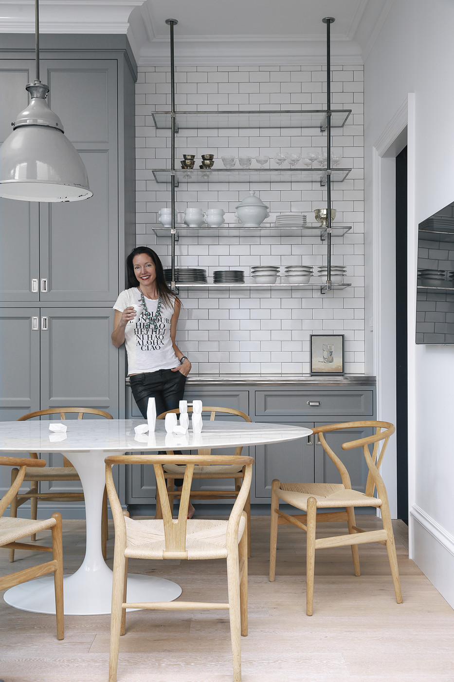 Grey and White Kitchen with Glass Shelves