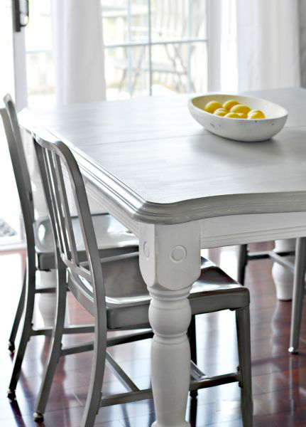 Grey and White Painted Kitchen Table