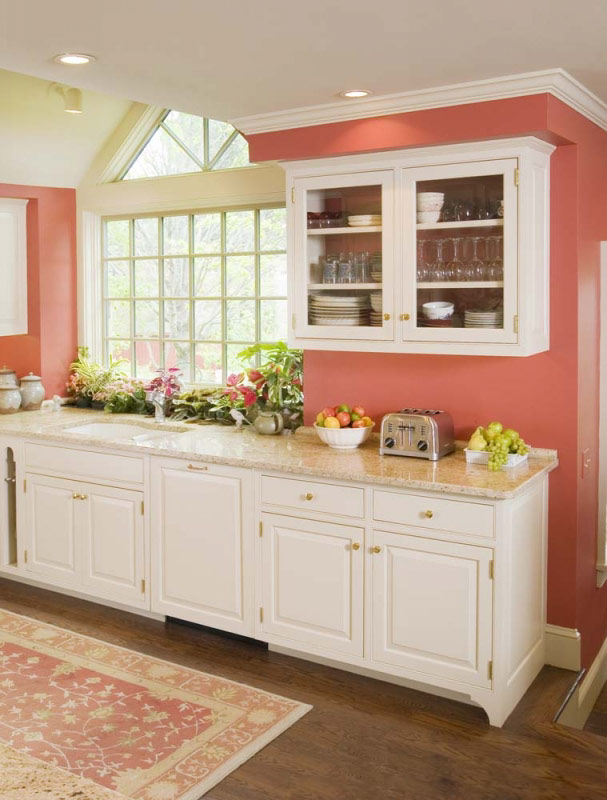 Kitchen Cabinets with White Walls and Coral