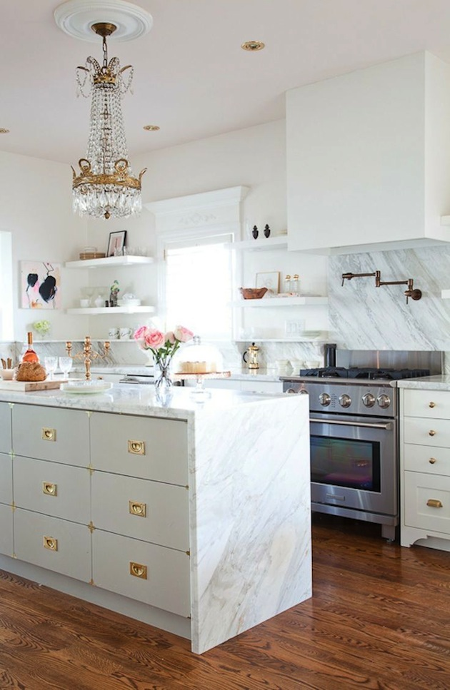 Kitchen White Marble with Gold Accents