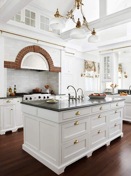 Kitchen With Brass Hardware
