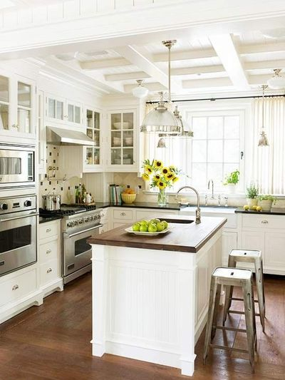 Kitchen with Coffered Ceiling