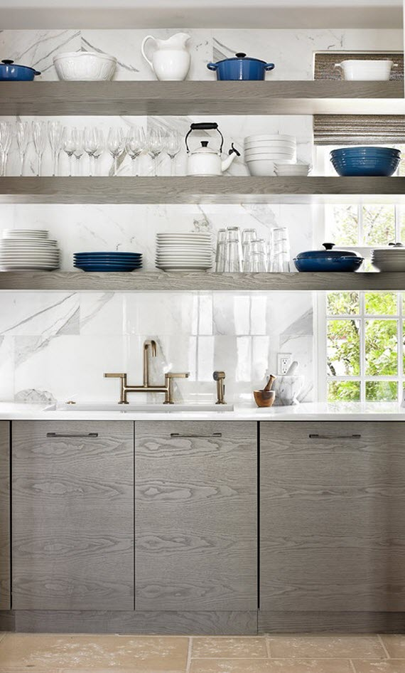 Kitchens with Open Shelving and Cabinets