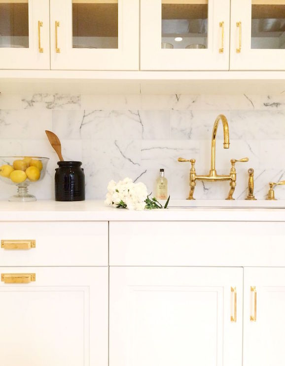 Kitchens with White Cabinet Pulls Gold
