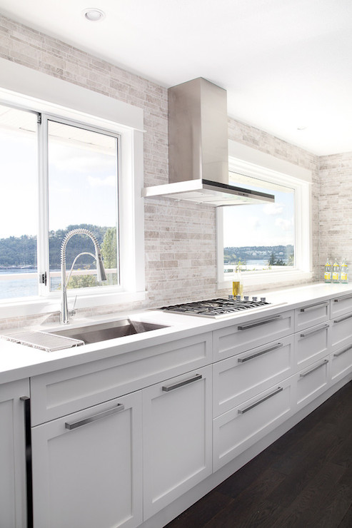 Modern Kitchen No Upper Cabinets White