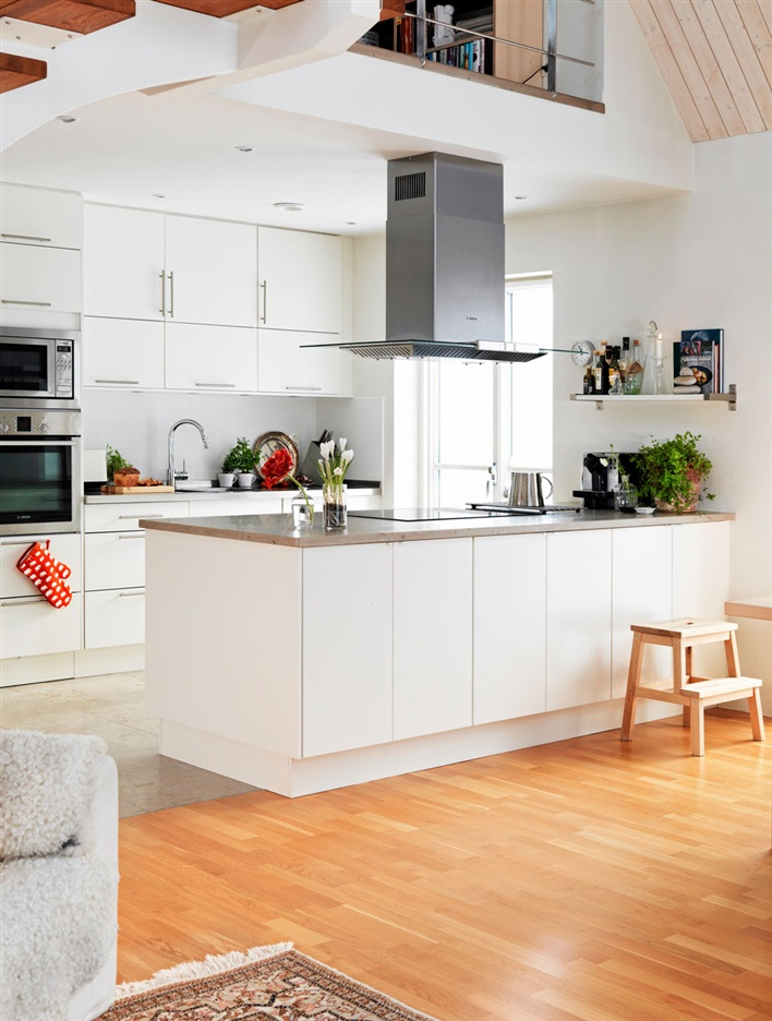 Modern White Kitchen with Island