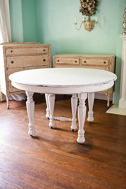 Shabby Chic Antique White Dining Table