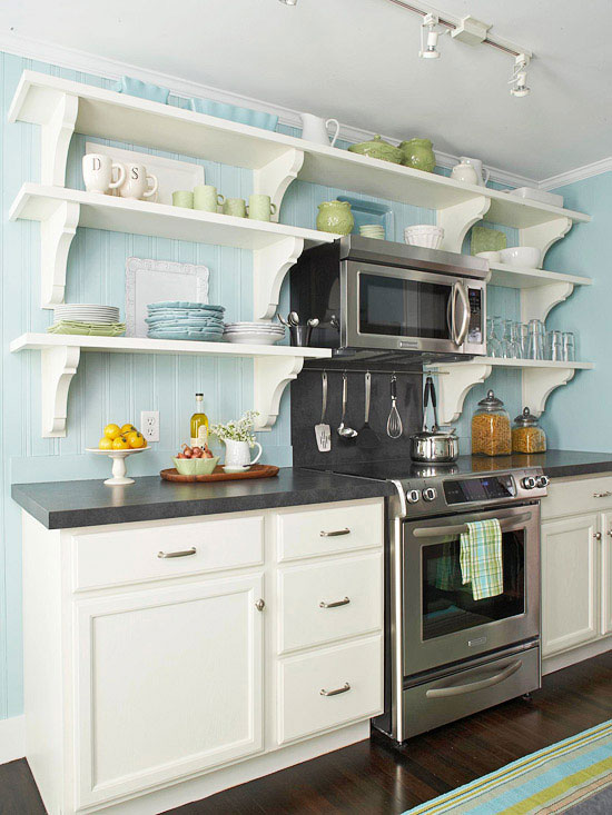 Small Kitchen Ideas with Open Shelves