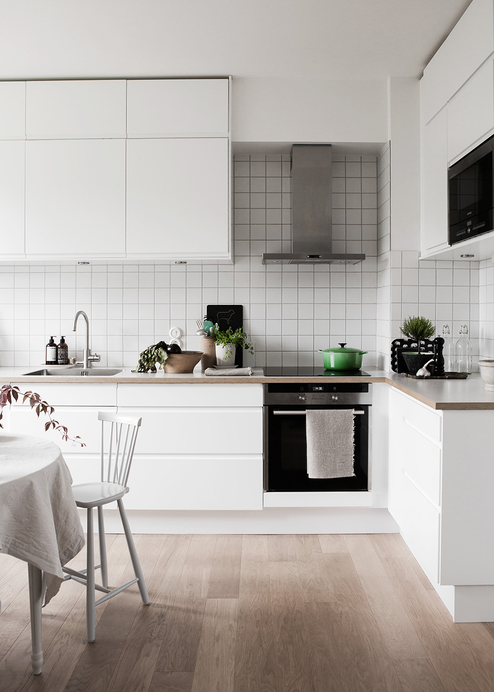 Square White Tiles Kitchen