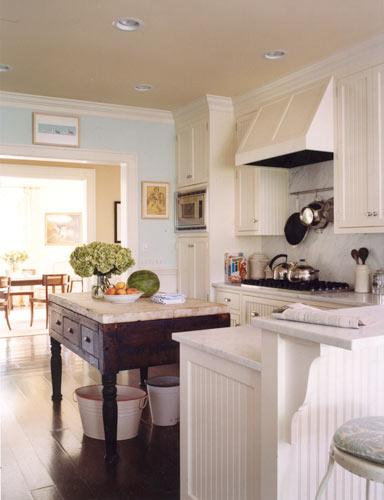 Wall with White Beadboard Kitchen Cabinets