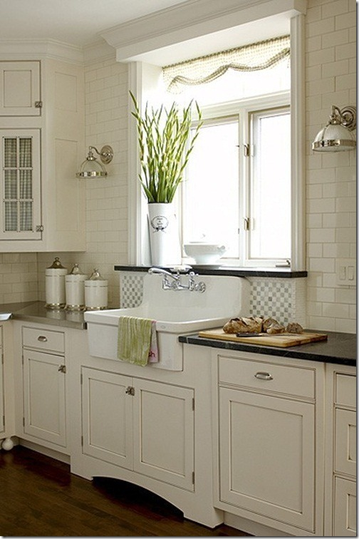 White Kitchen Cabinets with Farmhouse Sink