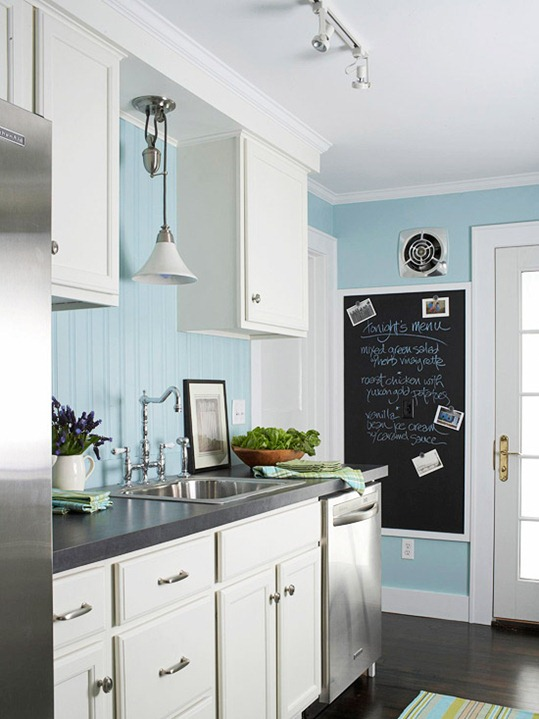 White Kitchen Cabinets with Light Blue
