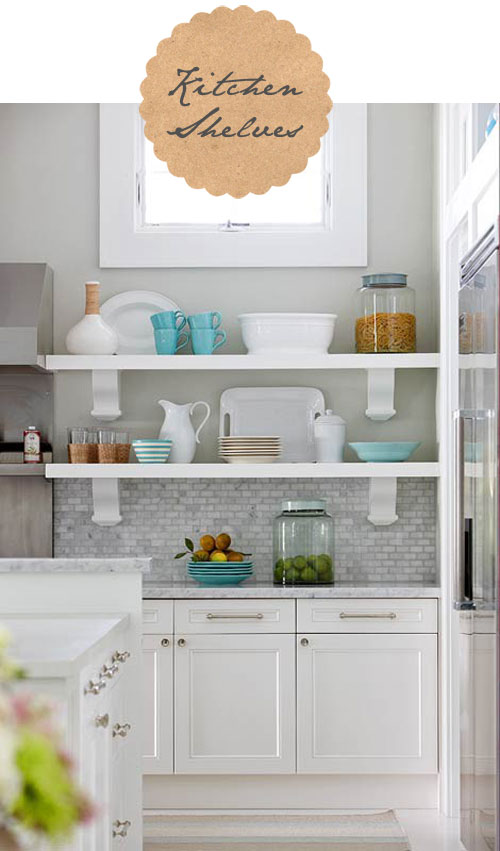 White Kitchen Cabinets with Open Shelves