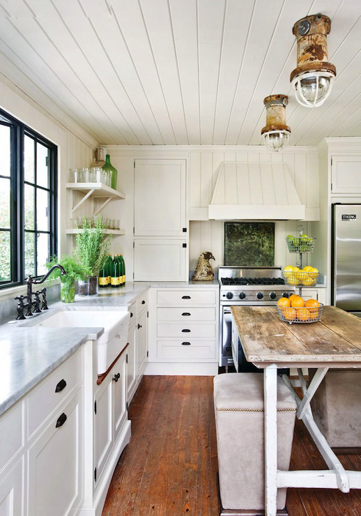 White Kitchen Wood Ceiling