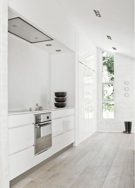 White Kitchen with Light Grey Wood Floor