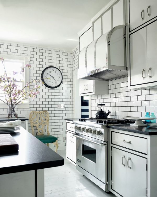 White Kitchen with Subway Tile Black Grout