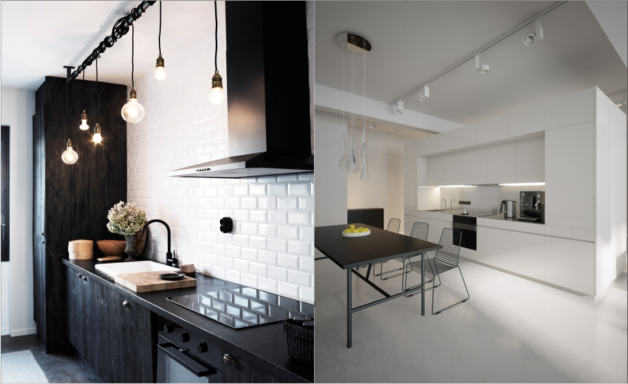 White kitchen with lighting feture
