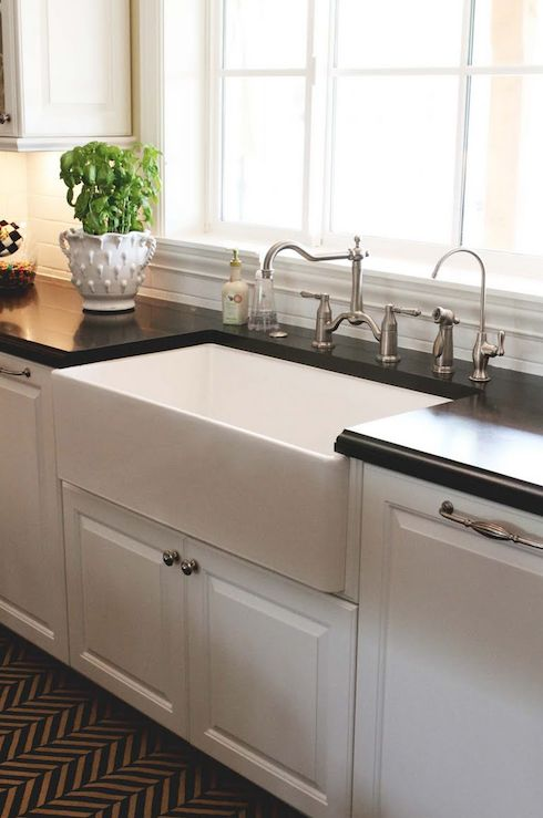 Black and White Kitchen with Farmhouse Sink