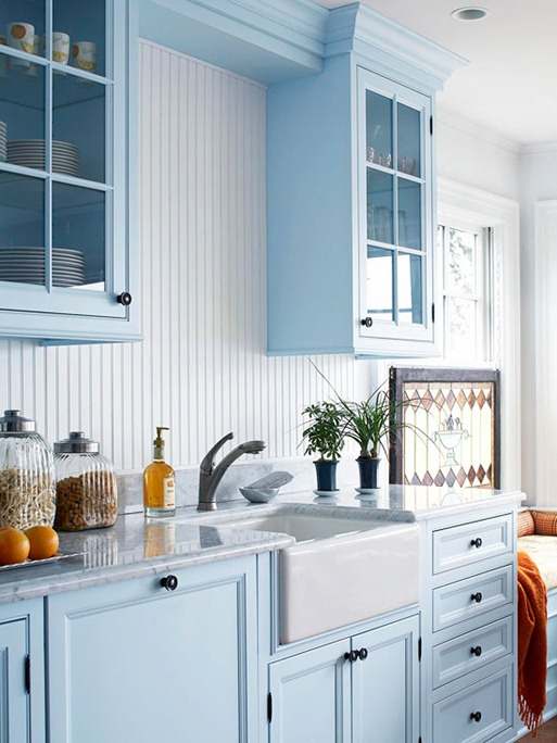 Blue Kitchen Walls with White Cabinets