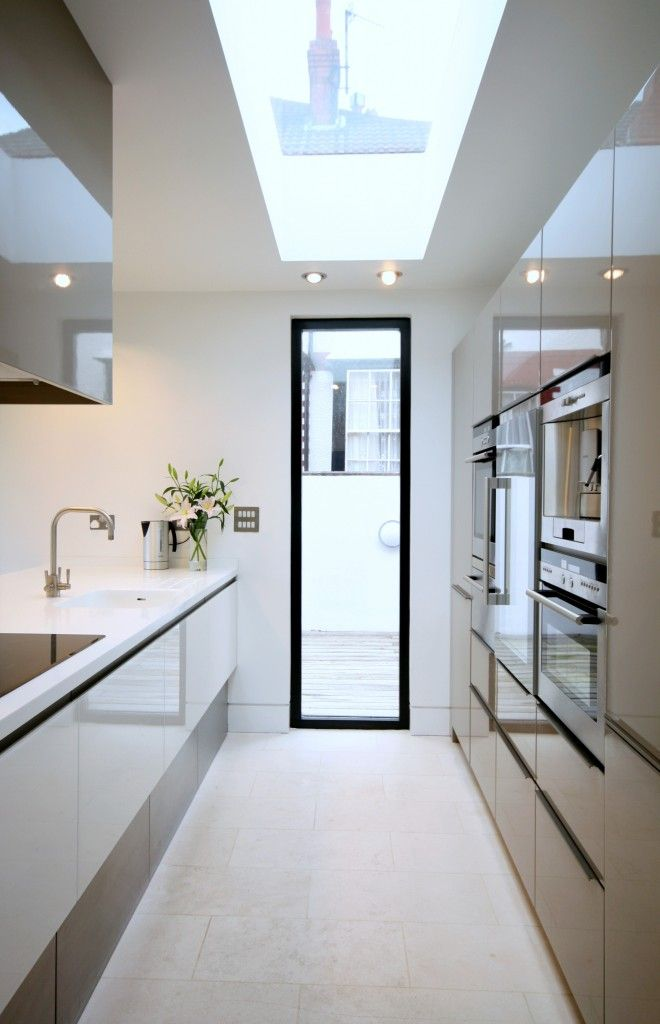 Galley Kitchen with Skylight