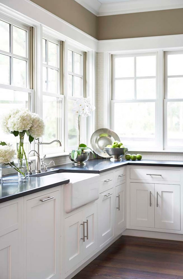 Kitchens with White Cabinets and Windows
