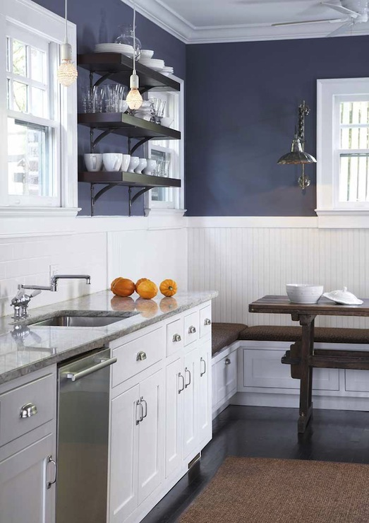 Navy Blue Kitchen Walls with White Cabinets