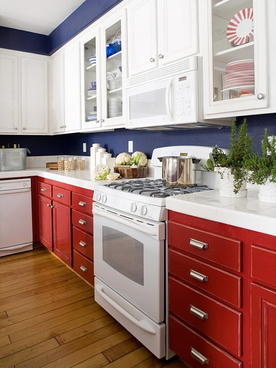 Red White and Blue Kitchen