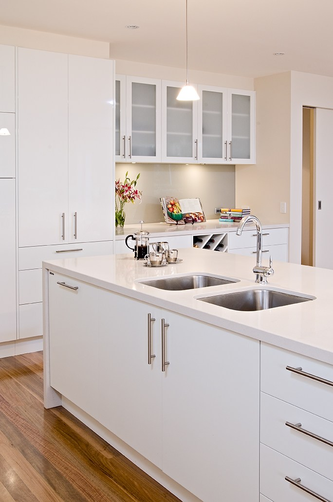 Timber Kitchen with White Floors