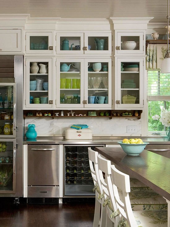 Upper Kitchen Cabinets with Glass Doors
