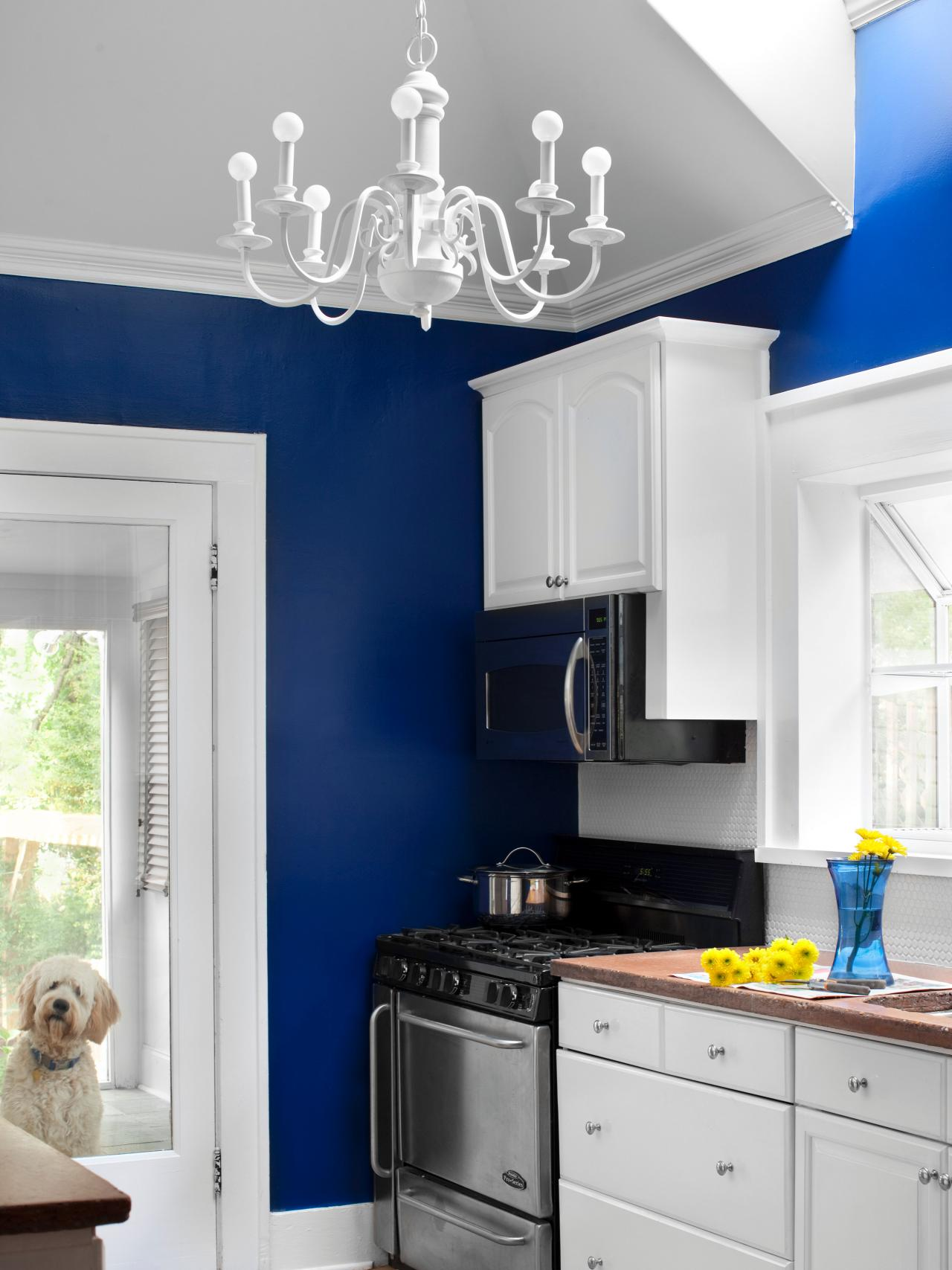 White Kitchen with Blue Walls