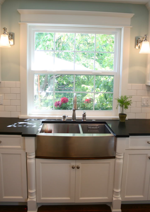 White Kitchen with Stainless Steel Apron Sink