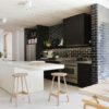 White kitchen with Brick Feture